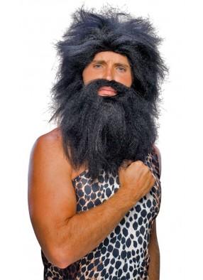 Парик и борода первобытного человека черные