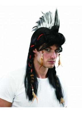 Парик индейца с ирокезом и косами