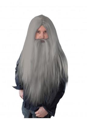 Парик колдуна длинный серый