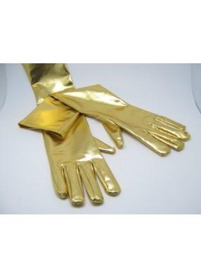 Перчатки блестящие длинные золотые