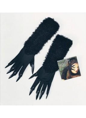 Перчатки черной кошки с когтями