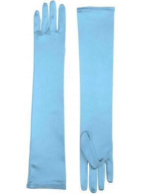 Перчатки длинные голубые
