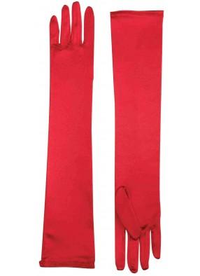 Перчатки длинные красные