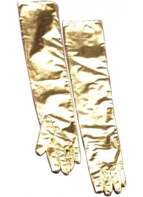 Перчатки лаковые золотистые