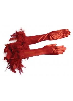 Перчатки с перьями красные взрослые