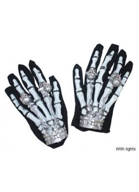Перчатки скелета с перстнями