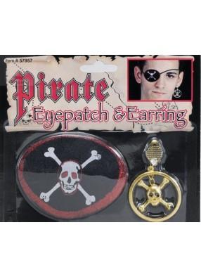 Пиратская повязка на глаз и серьга