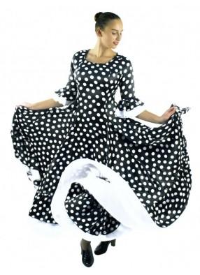Платье Фламенко черное в белый горох