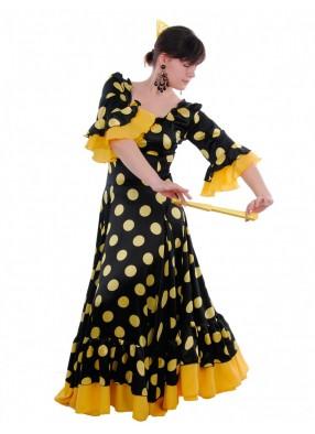 Платье Фламенко черное в желтый горох