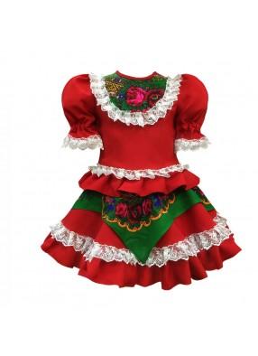 Платье кадриль красное