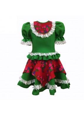 Платье кадриль зеленое
