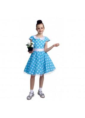 Платье стиляги для девочки голубое фото