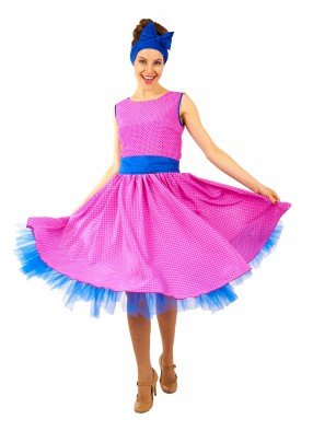 Платье Стиляги в стиле 50-х розовое для девушки