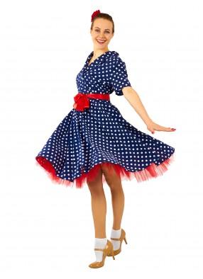 Платье Стиляги в стиле 50-х синее для девушки