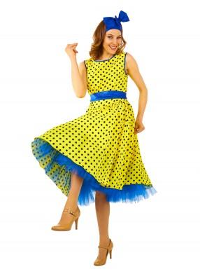 Платье Стиляги в стиле 50-х желтое для девушки