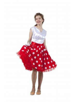 Платье в стиле 50-х белый горох и белый верх фото