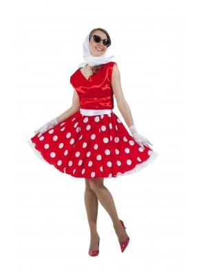 Платье в стиле 50-х белый горох и красный верх фото