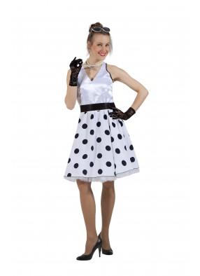 Платье в стиле 50-х черный горох и белый верх фото