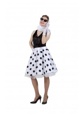 Платье в стиле 50-х черный горох и черный верх фото
