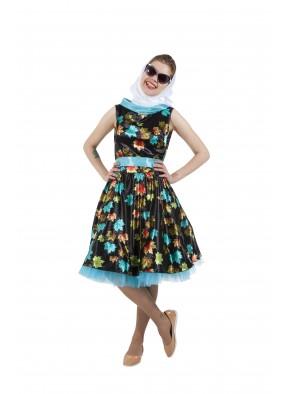 Платье в стиле 50-х с листочками черное фото