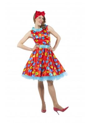 Платье в стиле 50-х с листочками красное фото