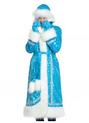 Плюшевый костюм Снегурочки с варежками для взрослых