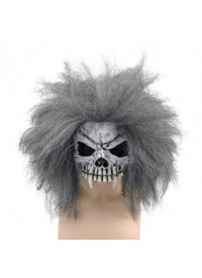 Полумаска черепа пирата с волосами