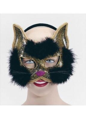 Полумаска черный кот пушистая