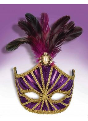 Полумаска фиолетовая с перьями и брошью
