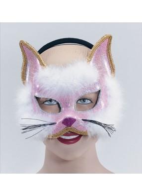 Полумаска кошки розовая