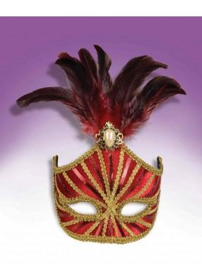 Полумаска красная с перьями и брошью