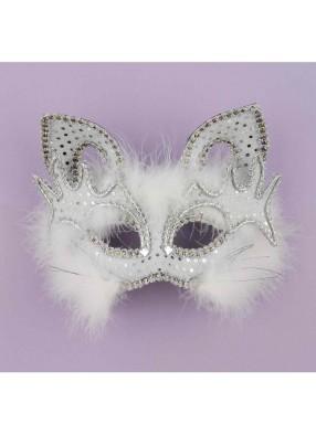 Полумаска венецианской белой кошки