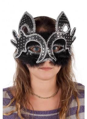 Полумаска венецианской черной кошки
