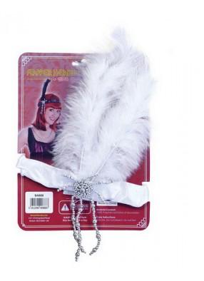 Повязка Лайзы на голову с белыми перьями