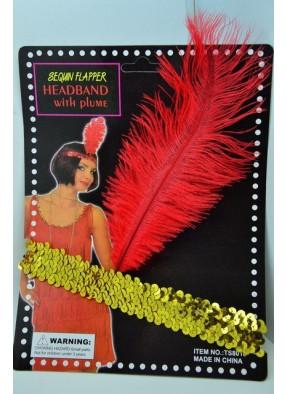 Повязка на голову блестящая с перьями