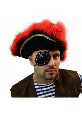 Повязка пирата люкс черная