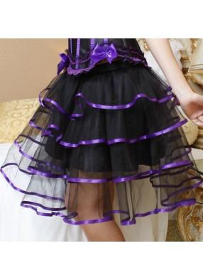 Пышная юбка с фиолетовой лентой 2 фото
