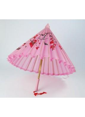 Розовый зонтик с деревянной ручкой