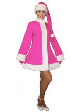 Розовый короткий костюм Снегурочки с колпаком
