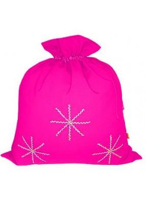 Розовый новогодний подарочный мешок Серебристые снежинки