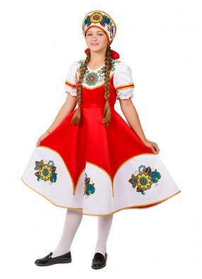 Русский костюм Калинка с кокошником  для девочки