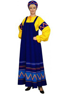 Русский женский костюм желто-синий
