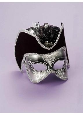 Серебряная венецианская маска на глаза фото