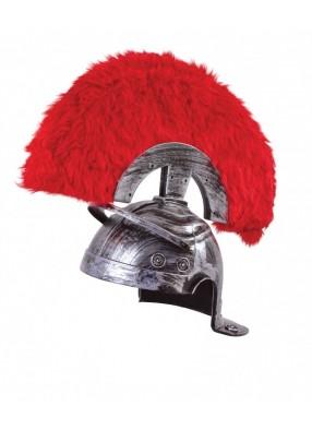 Серебряный шлем воина с плюмажем