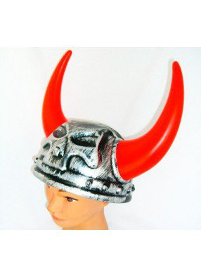 Шлем демона с красными светящимися рогами
