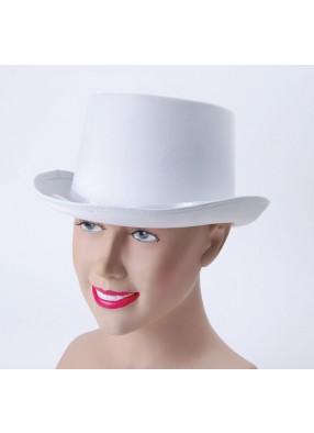 Шляпа цилиндр белая сатин
