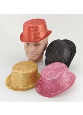 Шляпа цилиндр серебристый