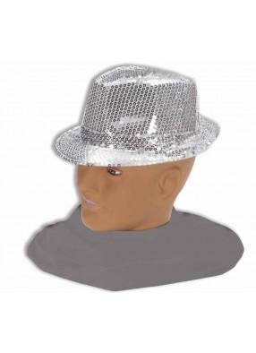 Шляпа федора серебряная