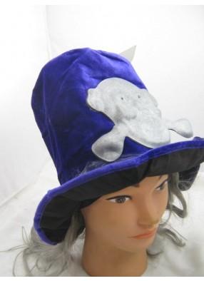 Шляпа фиолетовая с черепом и волосами