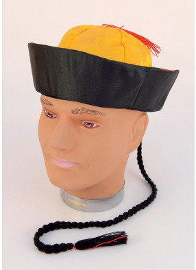 Шляпа китайская мандарин с косичкой